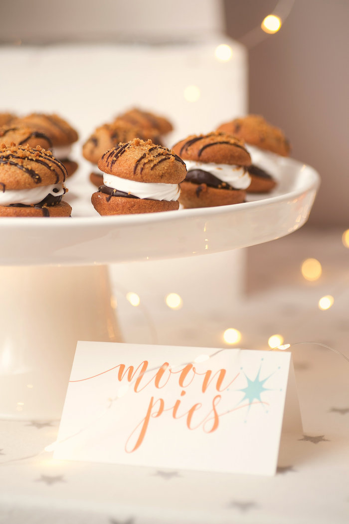 """Moon pies from a """"Fly Me to the Moon"""" Joint Birthday Party on Kara's Party Ideas 
