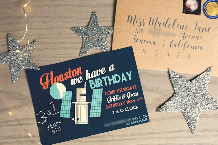 """Invitation from a """"Fly Me to the Moon"""" Joint Birthday Party on Kara's Party Ideas 