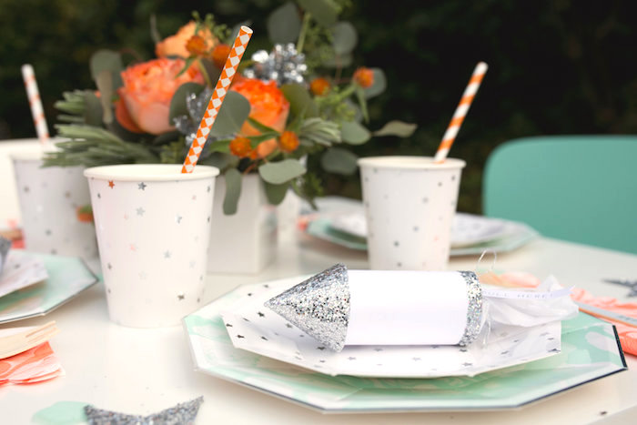 """Place setting from a """"Fly Me to the Moon"""" Joint Birthday Party on Kara's Party Ideas 