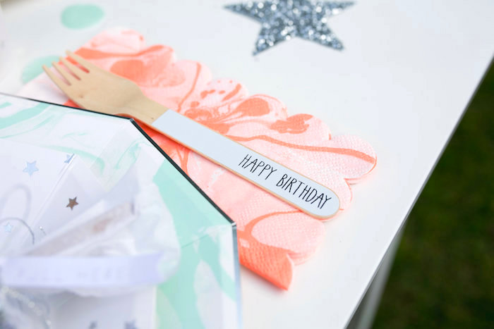 """Wooden fork and napkin from a """"Fly Me to the Moon"""" Joint Birthday Party on Kara's Party Ideas 