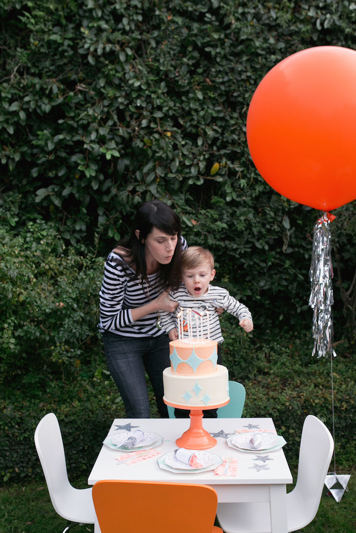"""Guest table from a """"Fly Me to the Moon"""" Joint Birthday Party on Kara's Party Ideas 