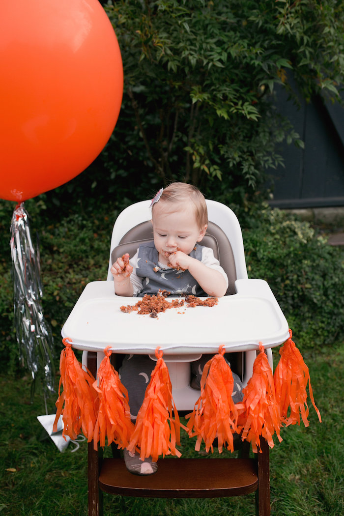"""Highchair bunting from a """"Fly Me to the Moon"""" Joint Birthday Party on Kara's Party Ideas 