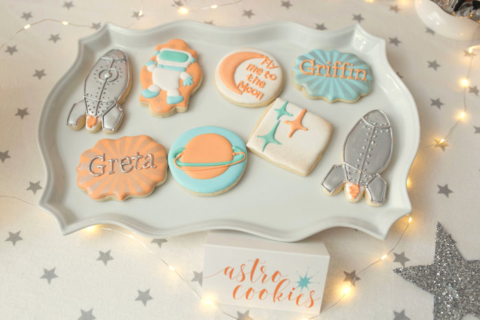 """Astro cookies from a """"Fly Me to the Moon"""" Joint Birthday Party on Kara's Party Ideas 