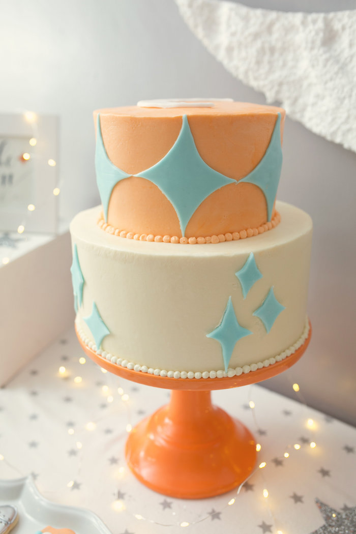 """Cake from a """"Fly Me to the Moon"""" Joint Birthday Party on Kara's Party Ideas 