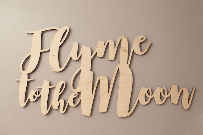 """Wooden banner from a """"Fly Me to the Moon"""" Joint Birthday Party on Kara's Party Ideas 