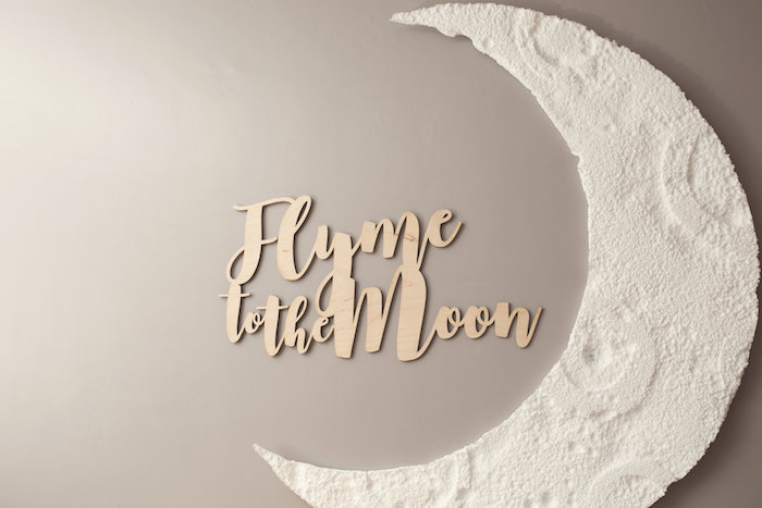 """Moon backdrop from a """"Fly Me to the Moon"""" Joint Birthday Party on Kara's Party Ideas 