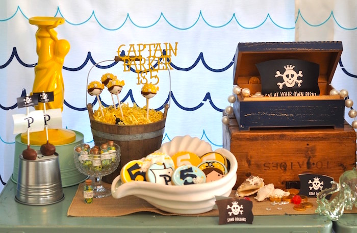 Dessert table from a Girly Pirate Birthday Party on Kara's Party Ideas | KarasPartyIdeas.com (28)