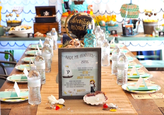 Guest table from a Girly Pirate Birthday Party on Kara's Party Ideas | KarasPartyIdeas.com (27)