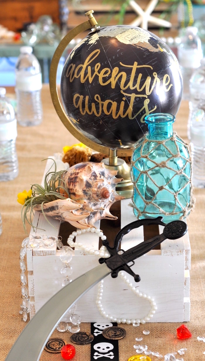 Pirate centerpiece from a Girly Pirate Birthday Party on Kara's Party Ideas | KarasPartyIdeas.com (26)