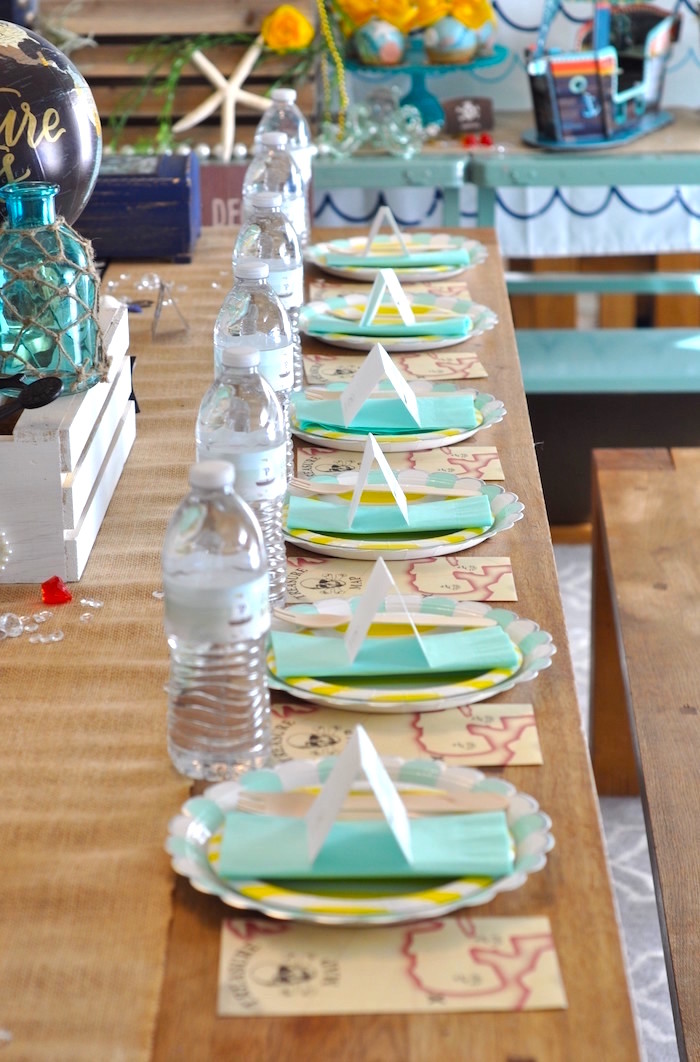 Place settings + guest tablescape from a Girly Pirate Birthday Party on Kara's Party Ideas | KarasPartyIdeas.com (25)