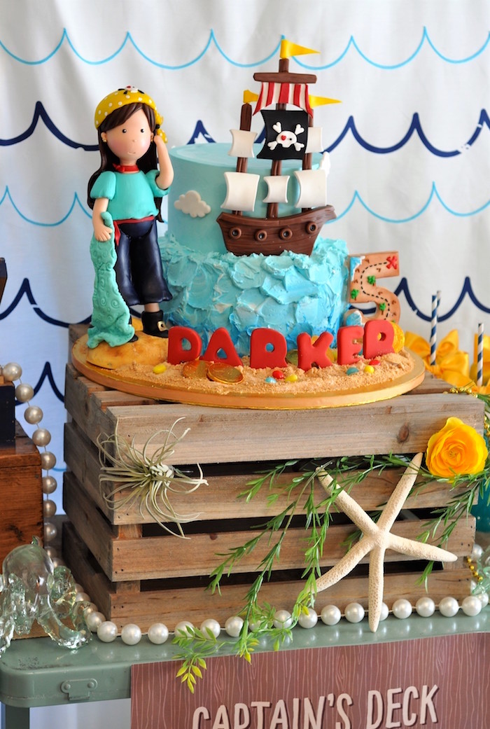 Pirate cake from a Girly Pirate Birthday Party on Kara's Party Ideas | KarasPartyIdeas.com (39)