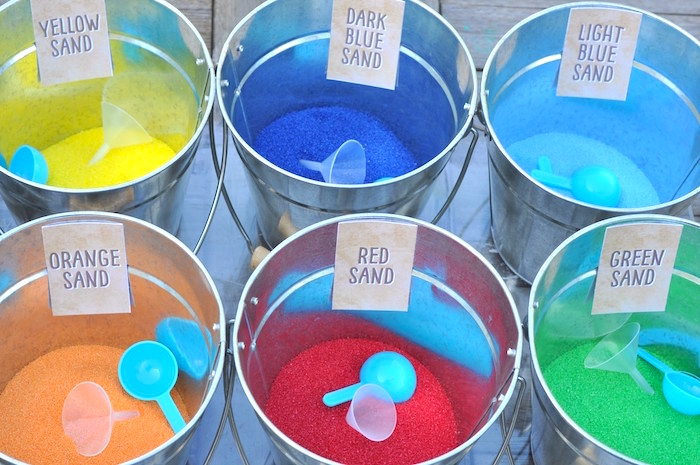 Colored sand in buckets from a Girly Pirate Birthday Party on Kara's Party Ideas | KarasPartyIdeas.com (11)