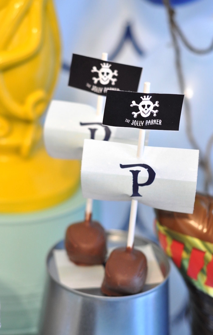 Pirate ship truffles from a Girly Pirate Birthday Party on Kara's Party Ideas | KarasPartyIdeas.com (9)