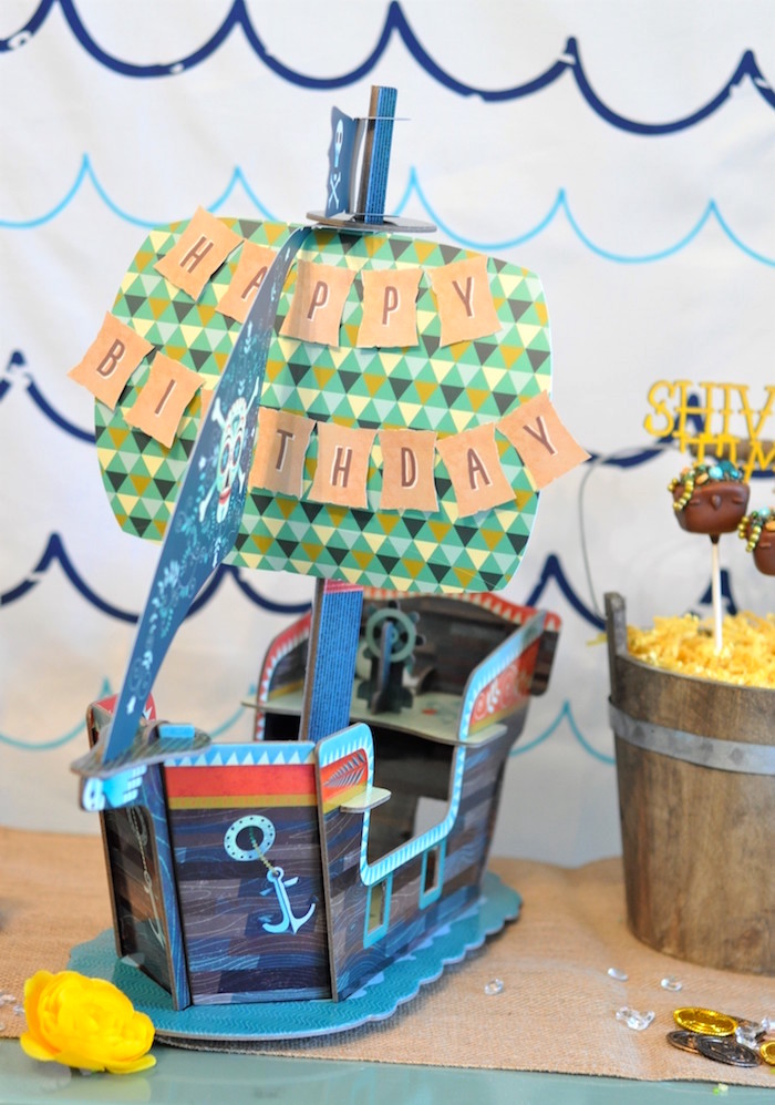 Cardboard pirate ship from a Girly Pirate Birthday Party on Kara's Party Ideas | KarasPartyIdeas.com (8)