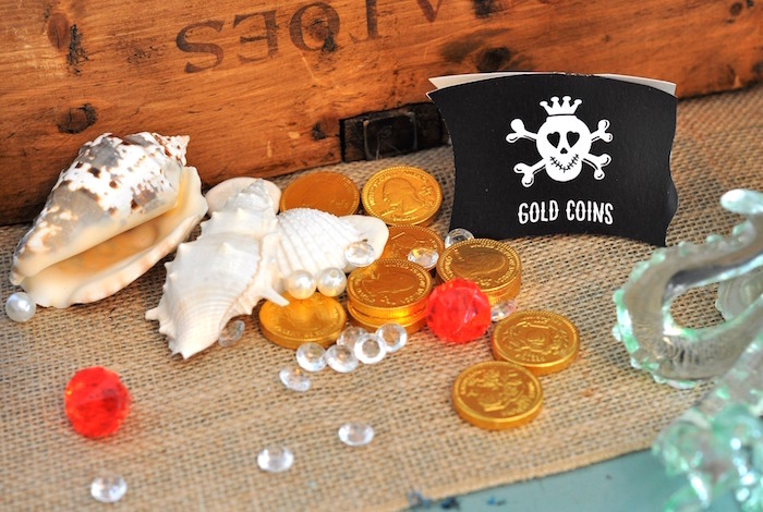 Gold coins, jewels and shells from a Girly Pirate Birthday Party on Kara's Party Ideas | KarasPartyIdeas.com (35)