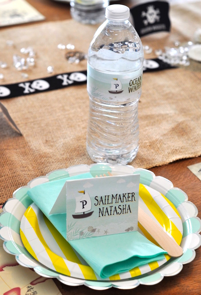 Place setting from a Girly Pirate Birthday Party on Kara's Party Ideas | KarasPartyIdeas.com (33)