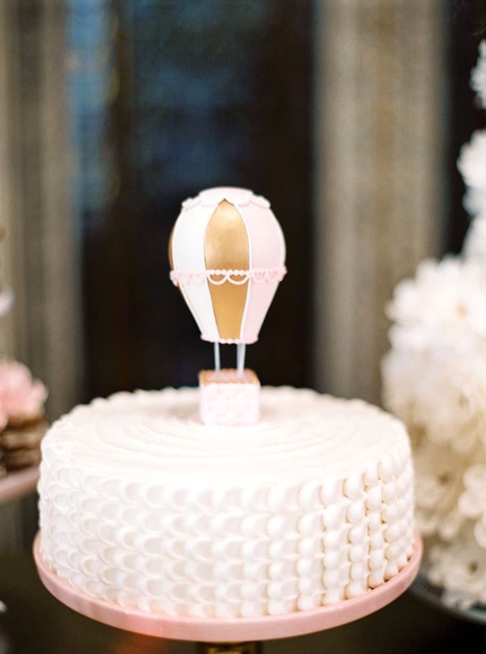 Hot air balloon petal cake from a Glamorous Unicorn Christening Party on Kara's Party Ideas | KarasPartyIdeas.com (5)