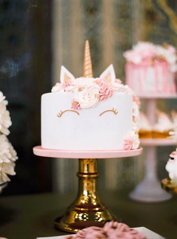 Unicorn cake from a Glamorous Unicorn Christening Party on Kara's Party Ideas | KarasPartyIdeas.com (15)