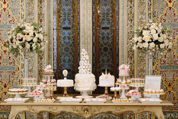 Dessert spread from a Glamorous Unicorn Christening Party on Kara's Party Ideas | KarasPartyIdeas.com (12)