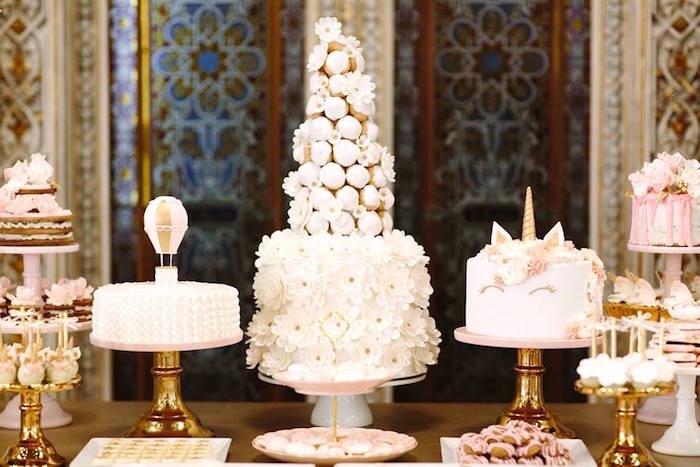Cakes from a Glamorous Unicorn Christening Party on Kara's Party Ideas   KarasPartyIdeas.com (10)