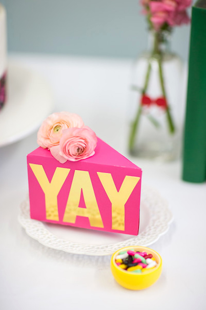 "Triangle ""yay"" favor box from a Kate Spade Inspired Bridal Shower on Kara's Party Ideas 