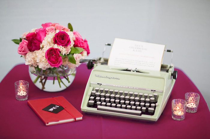 Vintage typewriter + decor from a Kate Spade Inspired Bridal Shower on Kara's Party Ideas | KarasPartyIdeas.com (8)