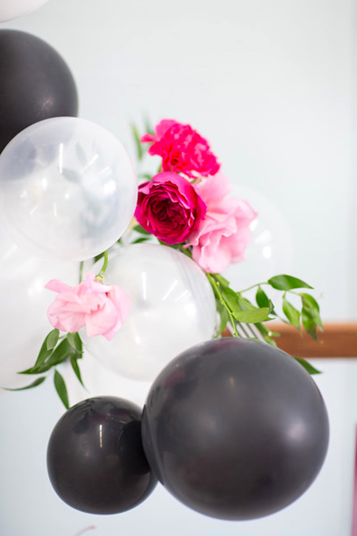 Balloon & flower bunting from a Kate Spade Inspired Bridal Shower on Kara's Party Ideas | KarasPartyIdeas.com (28)