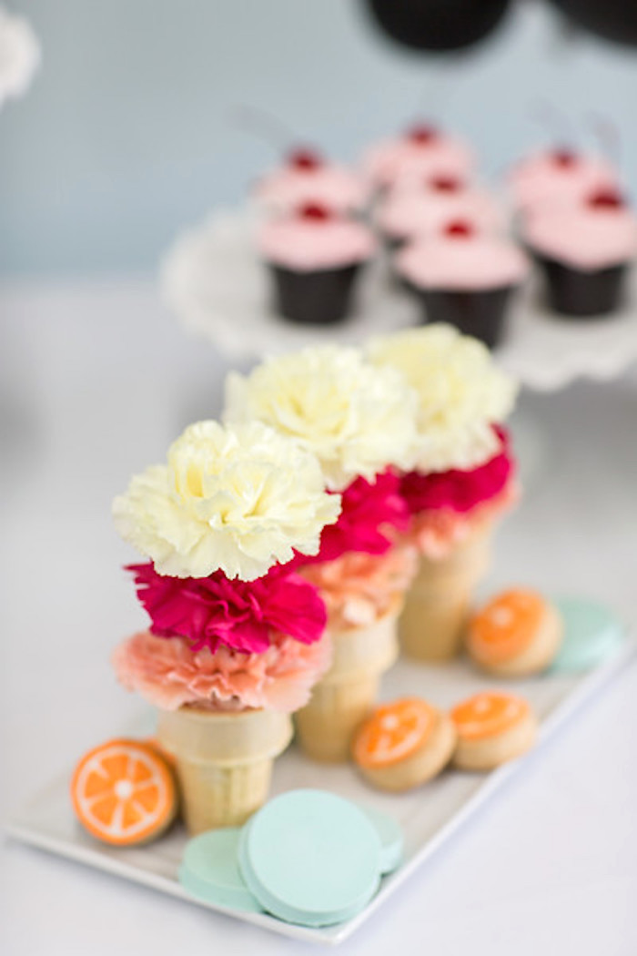 Flowers placed in ice cream cones from a Kate Spade Inspired Bridal Shower on Kara's Party Ideas | KarasPartyIdeas.com (23)
