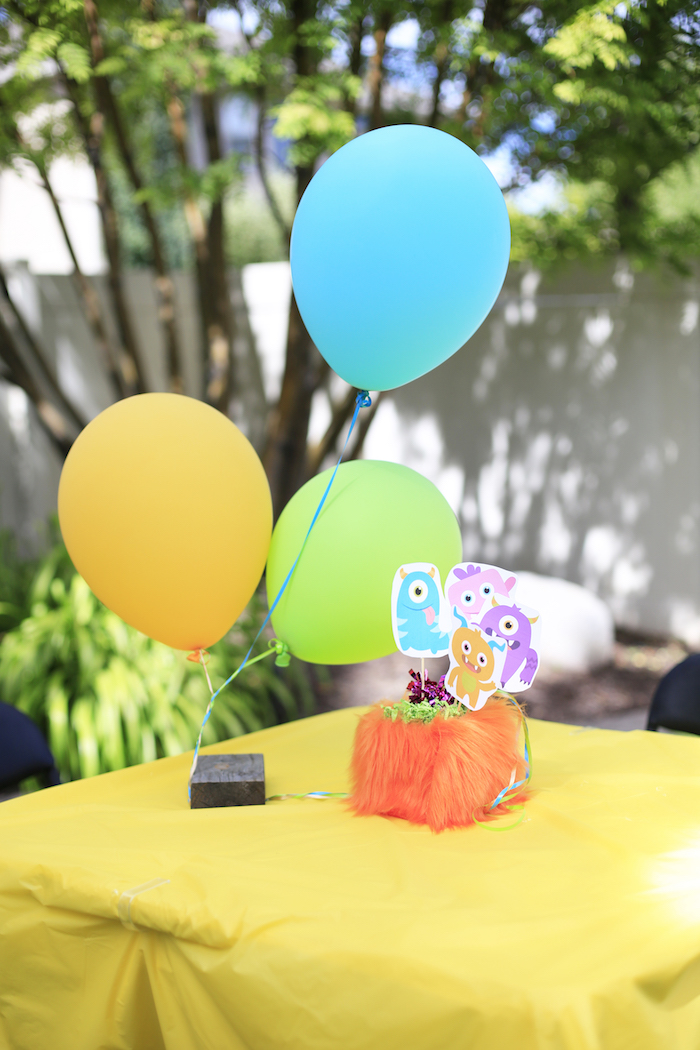 Colorful guest table from a Little Monster Birthday Party on Kara's Party Ideas | KarasPartyIdeas.com (14)