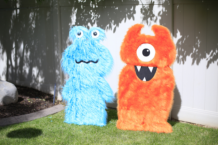 Fuzzy monster standees from a Little Monster Birthday Party on Kara's Party Ideas | KarasPartyIdeas.com (13)