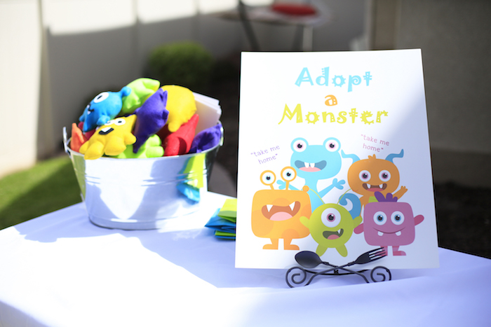 Monster adoption station from a Little Monster Birthday Party on Kara's Party Ideas | KarasPartyIdeas.com (12)