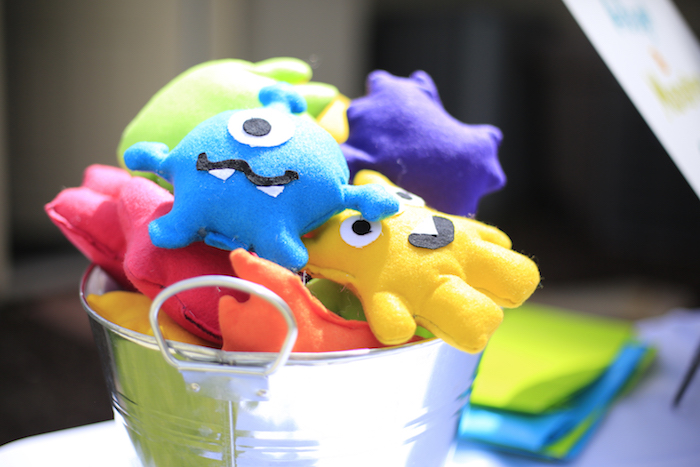 Plush monsters from a Little Monster Birthday Party on Kara's Party Ideas   KarasPartyIdeas.com (11)