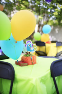 Guest table from a Little Monster Birthday Party on Kara's Party Ideas | KarasPartyIdeas.com (10)