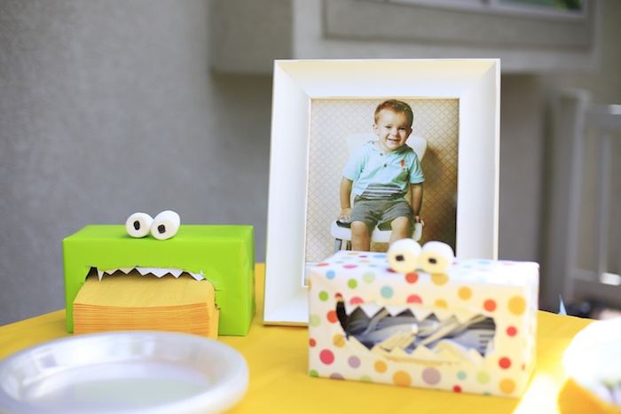 Monster box containers from a Little Monster Birthday Party on Kara's Party Ideas   KarasPartyIdeas.com (8)