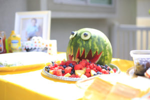 Watermelon Monster fruit bowl from a Little Monster Birthday Party on Kara's Party Ideas | KarasPartyIdeas.com (7)