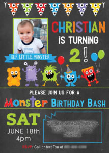 Monster Party Invitation from a Little Monster Birthday Party on Kara's Party Ideas | KarasPartyIdeas.com (5)