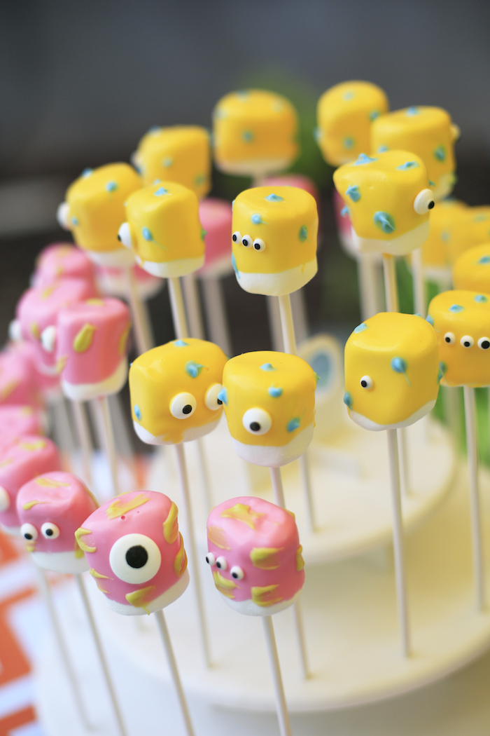 Monster mallow pops from a Little Monster Birthday Party on Kara's Party Ideas | KarasPartyIdeas.com (27)