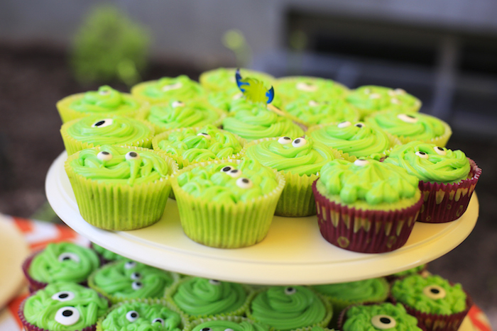 Monster cupcakes from a Little Monster Birthday Party on Kara's Party Ideas | KarasPartyIdeas.com (26)