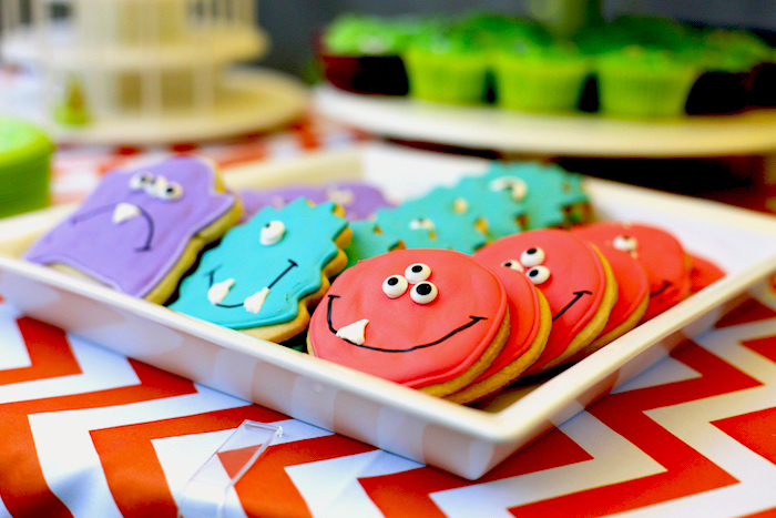 Monster cookies from a Little Monster Birthday Party on Kara's Party Ideas | KarasPartyIdeas.com (25)
