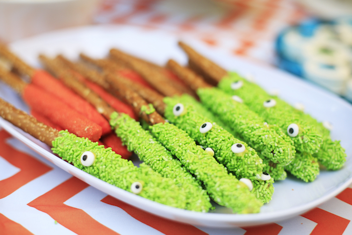 Monster pretzel sticks from a Little Monster Birthday Party on Kara's Party Ideas | KarasPartyIdeas.com (20)