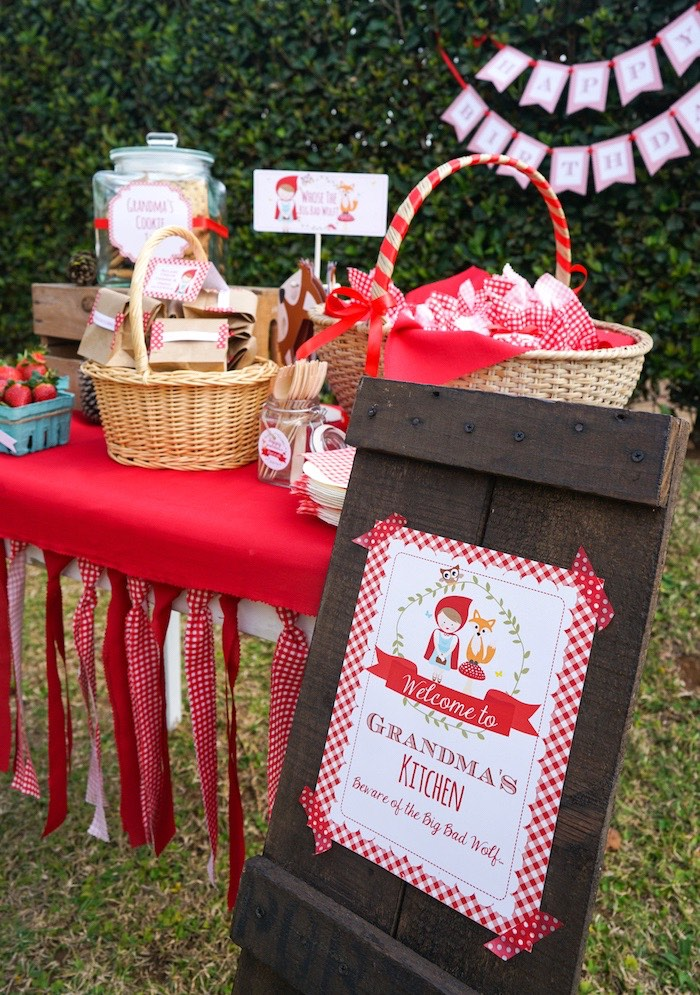 """Grandma's Kitchen"" dessert table from a Little Red Riding Hood Birthday Party on Kara's Party Ideas 