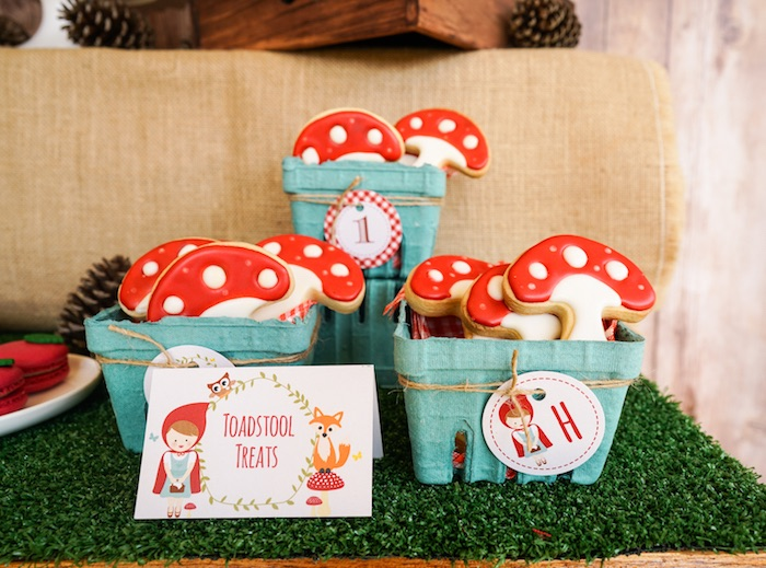 Toadstool sugar cookies from a Little Red Riding Hood Birthday Party on Kara's Party Ideas | KarasPartyIdeas.com (13)