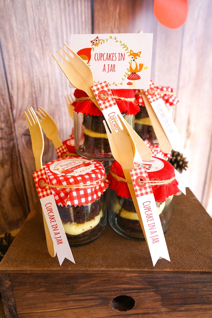 Cupcakes in a jar from a Little Red Riding Hood Birthday Party on Kara's Party Ideas | KarasPartyIdeas.com (6)