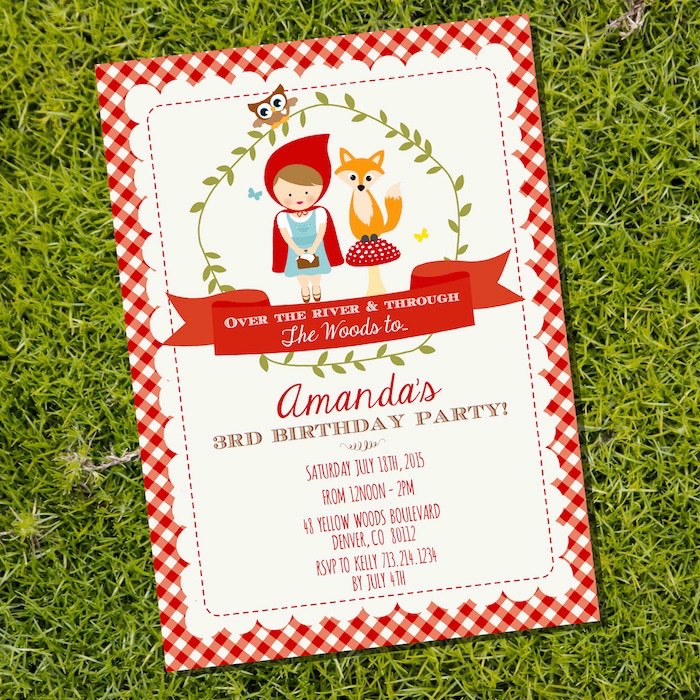Little Red Riding Hood Party Invitation from a Little Red Riding Hood Birthday Party on Kara's Party Ideas | KarasPartyIdeas.com (5)