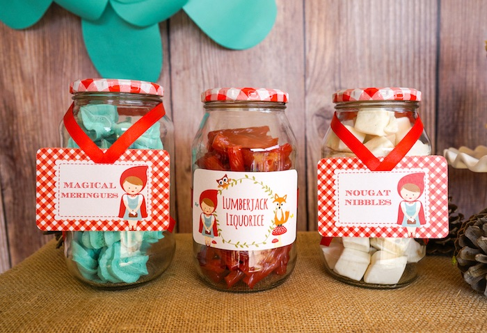Treat jars from a Little Red Riding Hood Birthday Party on Kara's Party Ideas | KarasPartyIdeas.com (24)