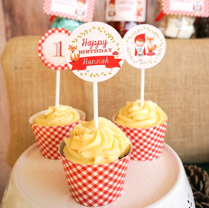 Cupcakes from a Little Red Riding Hood Birthday Party on Kara's Party Ideas | KarasPartyIdeas.com (19)
