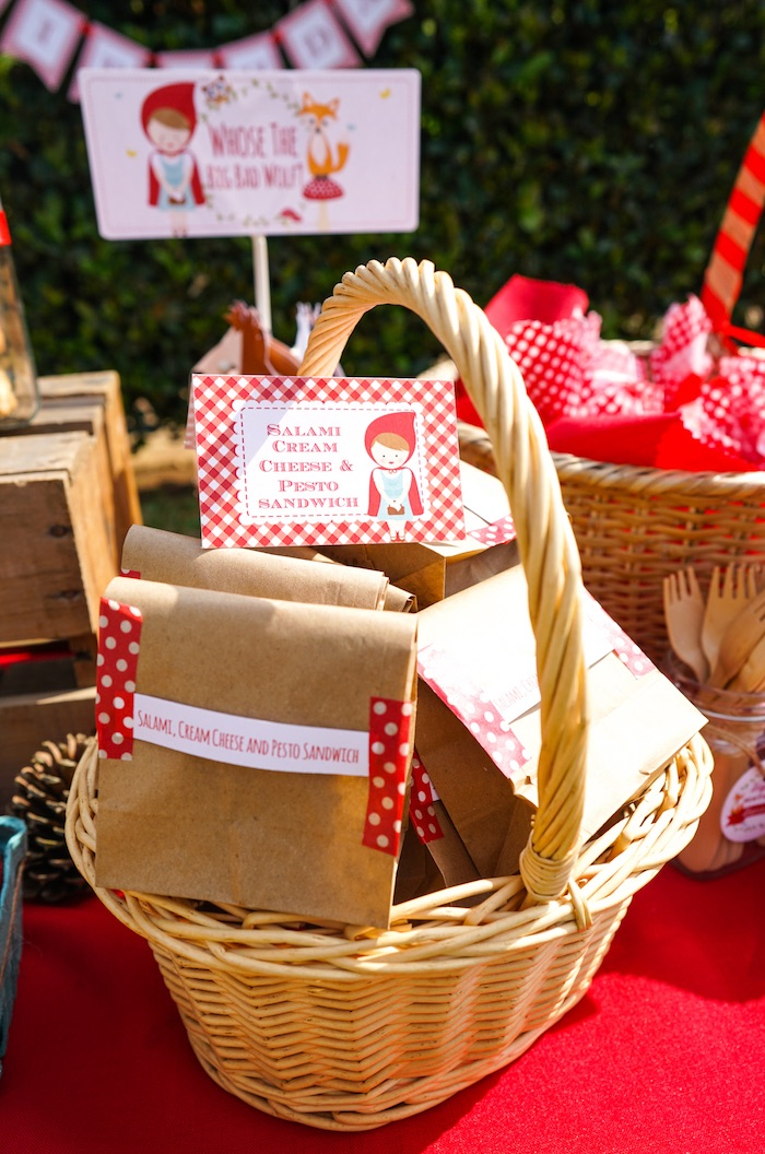 Lunch sacks from a Little Red Riding Hood Birthday Party on Kara's Party Ideas | KarasPartyIdeas.com (17)