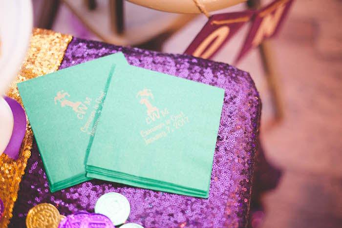 Custom napkins from a Mardi Gras Themed Birthday Party on Kara's Party Ideas | KarasPartyIdeas.com (10)