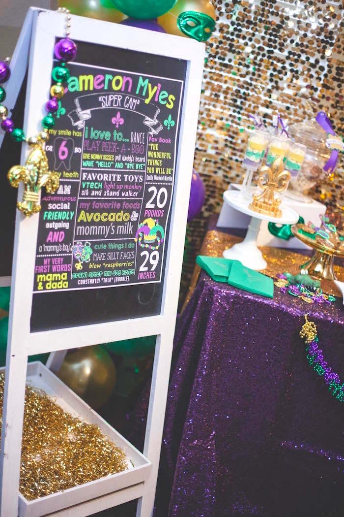 Fact-board from a Mardi Gras Themed Birthday Party on Kara's Party Ideas | KarasPartyIdeas.com (7)