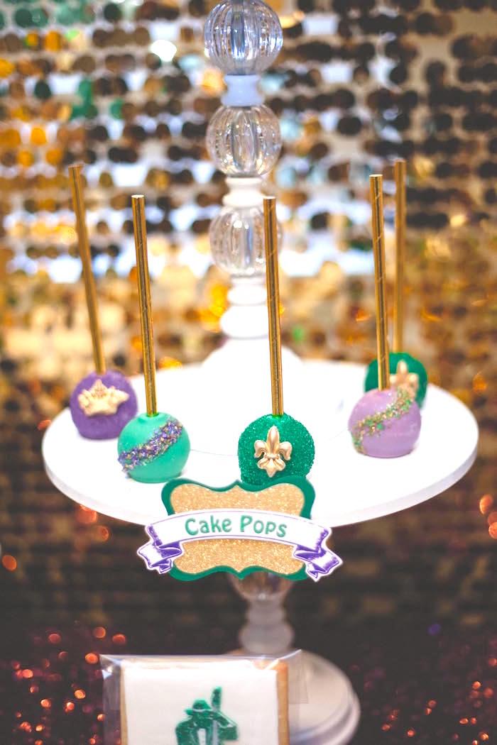 Mardi Gras cake pops from a Mardi Gras Themed Birthday Party on Kara's Party Ideas | KarasPartyIdeas.com (5)